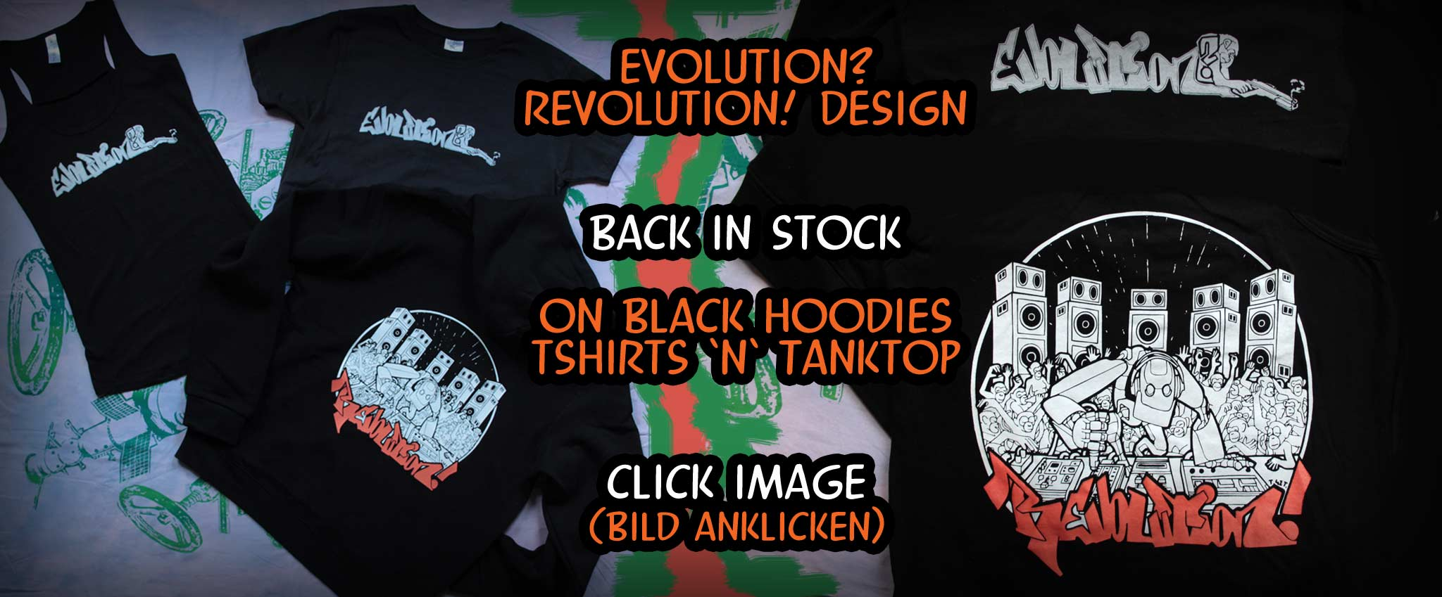 Evolution Revolution Tshirt Tanktop Hoody Back in stock